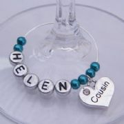 Cousin Personalised Wine Glass Charm